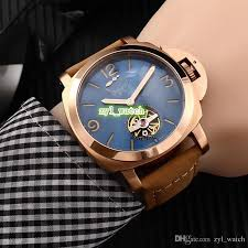 new men s boutique watches automatic men s sports watch rose gold case watch leather strap watch free