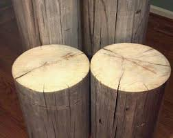 wood stump furniture. Rustic Weathered Gray Poplar Stump Table ~ Bedside Stool Plant Stand - 7- Wood Furniture
