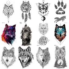Realistic Wolf Designs Coktak 12pieces Lot Forest Realistic Wolf Temporary Tattoos For Men Body Art Women Arm Tattoo Stickers Kids Tribal Coyote Design Fake Tattoo Sheets