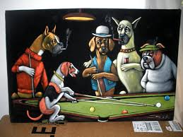 dog playing pool oil black velvet painting 24x36 size made and signed by zalas s