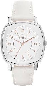 women s fossil idealist white leather strap watch es4216 loading zoom