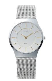 skagen watches trends goldtone hands and stick indexes offer two tone versatility on the brushed chrome dial of a mini st watch tailored a slim mesh bracelet