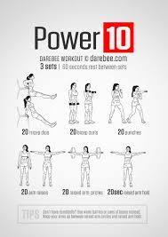 Power Of 10 Workout Chart Power 10 Workout Upper Body Arm Workout No Equipment