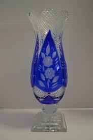 beautiful vintage rena cut glass vase cobalt blue 15 h pa5014 aardvark antiques