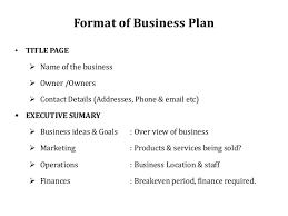 Format For Business Plans Business Plan Entrepreneurship