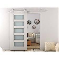 modern barn doors. HomCom Modern 6.6\u0027 Interior Sliding Barn Door Kit Hardware Set - Stainless Steel Tube Doors A