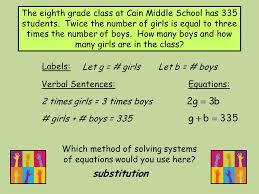 labels let g girls let b boys verbal sentences 2 5 solve the second equation