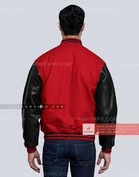 black red letterman jacket back