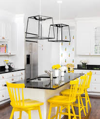 Yellow Vintage Counter Stools with Beadboard Island