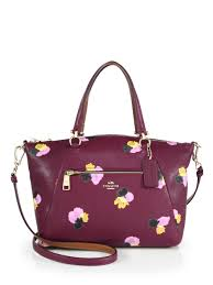 Lyst - Coach Prairie Floral-print Leather Satchel in Purple