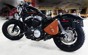 brown leather sportster saddlebags