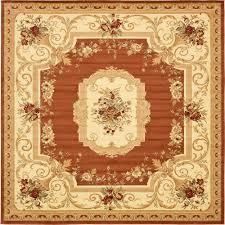 unique loom versailles brick red 10 x 10 square rug