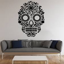 Skull Wallpaper For Bedroom Online Get Cheap Sugar Skull Wall Decal Aliexpresscom Alibaba