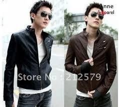 men collar leather jacket pu slim leather clothing double zipper decoration fashionlj02