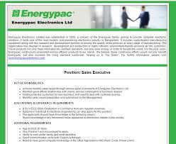 Sales Executive Job Description Energypac Electronics Limited Position Sales Executive Jobs
