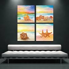 canvas paintings wall art for home decorations 4 piece modern seascape shells canvas print artwork landscape on 4 piece wall artwork with canvas paintings wall art for home decorations 4 piece modern