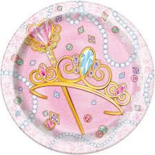 7\ Jeweled Pink Princess Cake Plates | Party Supplies