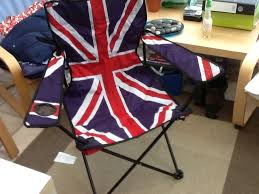 folding camping chair union jack design like new one with carrying bag