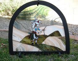 custom made stained glass kiva fireplace screen