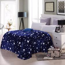 navy stars soft flannel blanket warm throw rug queen king single size bed cover a724