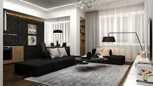 Living Room Black Sofa Living Room Black And White Decor With Black Brick Wall Near