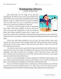 Free Thanksgiving Reading Comprehension Worksheets Free Worksheets ...