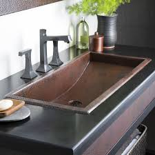 copper trough 36 rectangular drop in bathroom sink