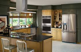 ge profile series kitchen with green and wood cabinets and stainless steel appliances