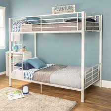Kids White Metal Twin over Twin Bunk Bed