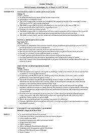 Clinical Research Manager Resume Samples Velvet Jobs