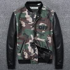 2018 new arrivals men s camouflage wool baseball jacket with cow leather sleeves fashionable hit pop style jacket men wool coat