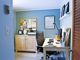 home office wall color. Blue Wall Color With Decorative Bulletin Board For Small Home Office Ergonomic Leather Chair I