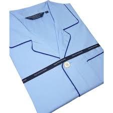 Light Cotton Pyjamas Light Blue Cotton Pyjamas With Navy Trim