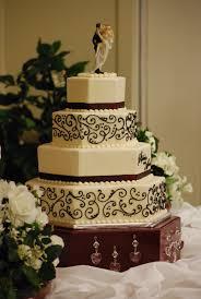 Hexagon Wedding Cake With Black Scrollwork Toptierweddingcakes