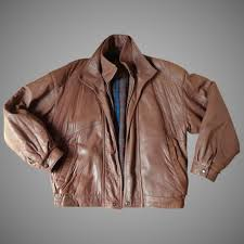 men s leather jacket er style top quality size large brown books and bygones ruby lane