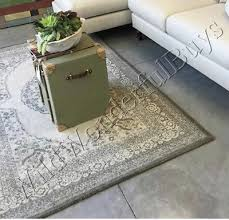 pottery barn elyse rug gray 5x8 medallion tufted wool new authentic