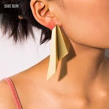 2019 <b>SHIXIN</b> Punk Big Geometry <b>Earrings</b> For Women Exaggerated ...
