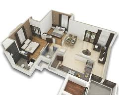 2bhk typical floor plan 1st to 10th floor 3d view
