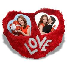 personalised love heart photo cushion