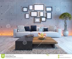 Small Picture Living Room Interior Design With Concrete Wall And Picture Frame