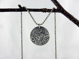 silver moon necklace reticulated