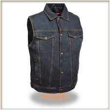 denim vest by milwaukee leather blue
