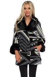 black faux fur collar cuffs short swing wool coat