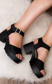 akira chunky platform block heel sandals shoes black leather style by love