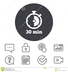 Timer Sign Icon 30 Minutes Stopwatch Symbol Stock Vector