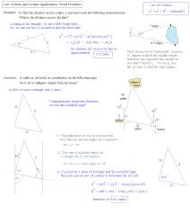 trigonometry law of sines and cosines word problem examples
