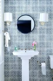 blue bathroom with navy mirrorscalloped edge pedestal sink american standard scalloped