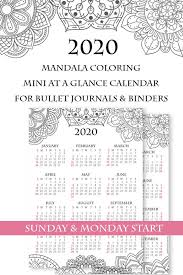 2020 monthly planner template 2020 one page calendar printable mandala