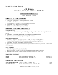 Server Resume Objective Resume Example 100 Server Resumes For 100 Objective Bartender 68