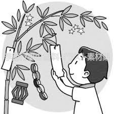 七夕の笹に短冊を下げる子供のイラスト 季節行事の無料イラスト素材集
